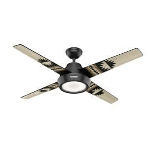 Spider Rock 54in. Integrated LED Indoor Matte Black Ceiling Fan with Light Kit and Handheld Remote Control