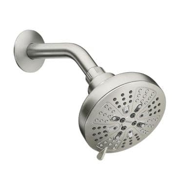 HydroEnergetix 8-Spray Patterns with 1.75 GPM 4.75 in. Single Wall Mount Fixed Shower Head in Spot Resist Brushed Nickel