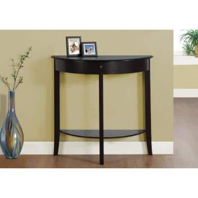 31 in. Cherry Standard Half Moon Composite Console Table with Drawers