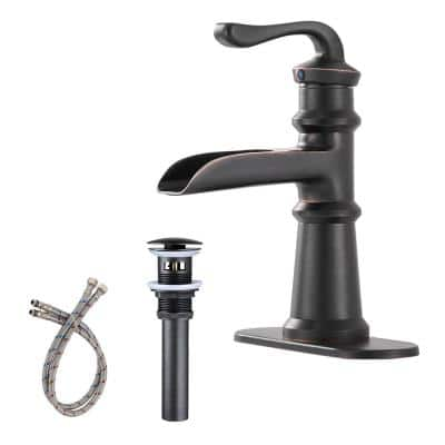 Waterfall Single Hole Single-Handle Low-Arc Bathroom Faucet With Pop-up Drain Assembly in Oil Rubbed Bronze