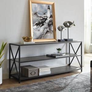 26 in. Slate Gray/Black Metal 3-shelf Etagere Bookcase with Open Back
