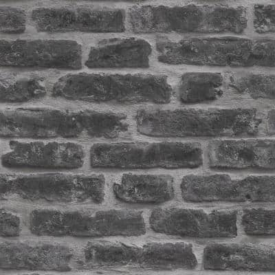 Black Vinyl Non-Pasted Moisture Resistant Wallpaper Roll (Covers 56 Sq. Ft.)