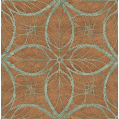 Patina Lattice Metallic Copper and Veridian Green Geometric Paper Strippable Roll (Covers 56.05 sq. ft.)