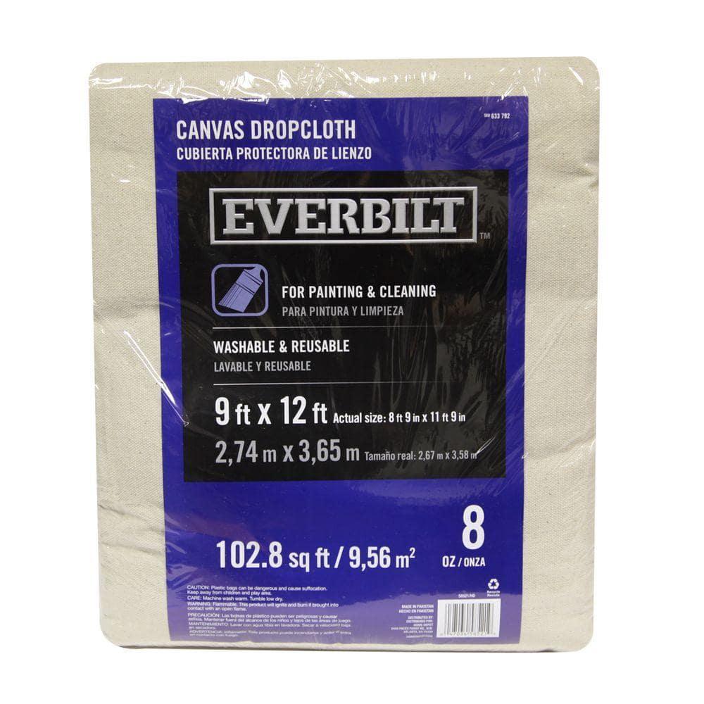 Everbilt 9 Ft x 12 Ft Canvas Drop Cloth