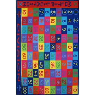 Fun Time Multiplication Multi Colored 5 ft. x 8 ft. Area Rug