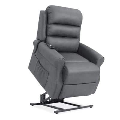 Power Recline and Lift Chair in Slate Gray Suede-like Fabric