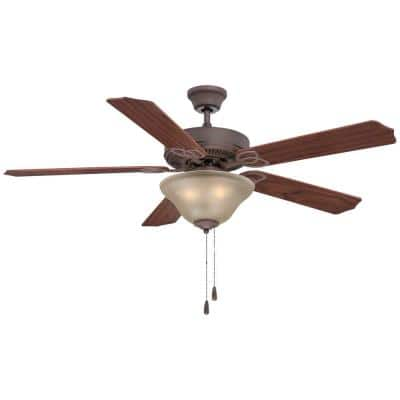 52 in. 3-Light Antique Bronze Ceiling Fan with Light and Reversible Rosewood/Walnut Blades and Sepia Glass Shades