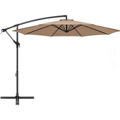 10 ft. Aluminum Market Outdoor Hanging Patio Umbrella in Tan