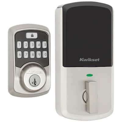 Aura Satin Nickel Single Cylinder Electronic Bluetooth Keypad Smart Lock Deadbolt featuring SmartKey Security