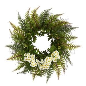 23 in. Assorted Fern and White Daisy Artificial Wreath