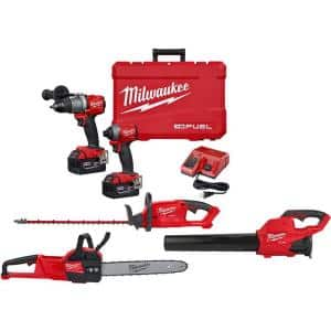 M18 FUEL 18-Volt Lithium-Ion Brushless Cordless Hammer Drill/Impact Driver Combo Kit(2-Tool)W/Blower, Hedge & Chainsaw