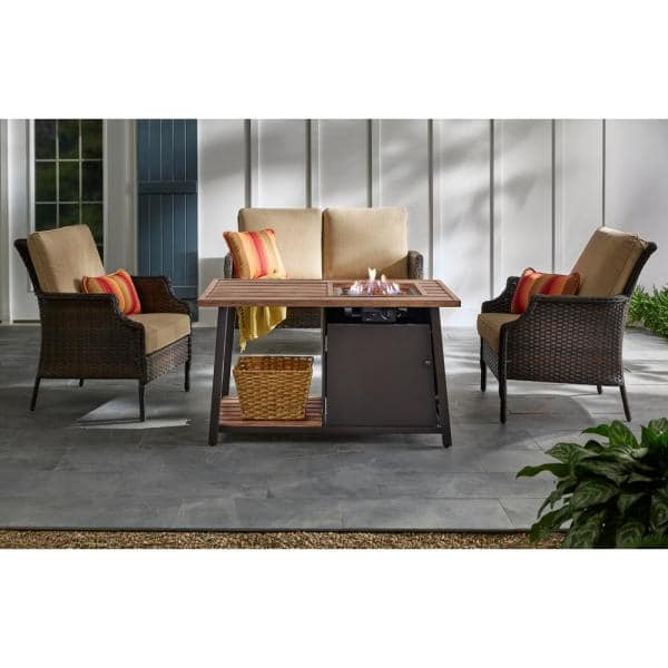 Hampton Bay Fordham 46 In W X 26 H Rectangular Powder Coated Steel Lp Fire Pit Coffee Table Faux Wood With Lava Rocks Gl 1850 Fp The Home Depot