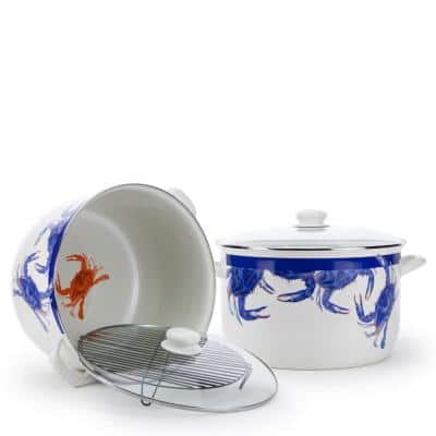 Blue Crab 18 qt. Porcelain-Coated Steel Stock Pot in Blue with Glass Lid