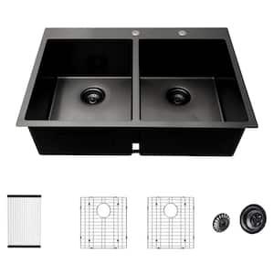 Gunmetal Black 16-Gauge Stainless Steel 33 in. Double Bowl 50/50 Drop-In Topmount Kitchen Sink with Bottom Grid