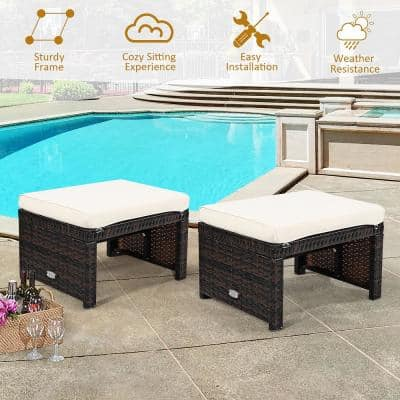 White 2-Piece Rattan Patio Ottoman Cushioned Seat Foot Rest Furniture
