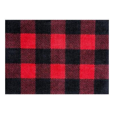 In-Home Washable/Non-Slip Buffalo Plaid Red 2 ft. 3 in. x 1 ft. 5 in. Area Rug & Mat