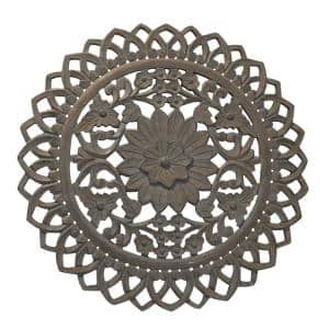 36 in. Distressed Brown Handcarved Wooden Round Wall Art with Floral Carving
