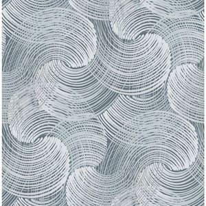 Karson Blue Swirling Geometric Blue Wallpaper Sample