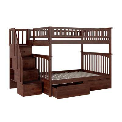 Columbia Staircase Walnut Full Over Full Bunk Bed with 2-Urban Bed Drawers