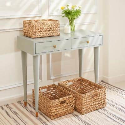 Aaliyah Stackable Rectangular Hand-Woven Water Hyacinth Organizing Decorative Basket Set