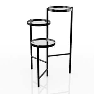 Selena Black 3-Tier Tempered Glass Indoor Plant Stand