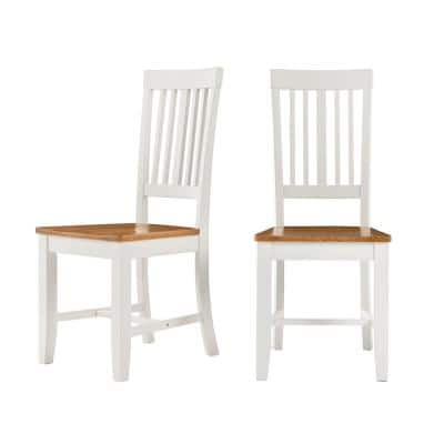 Scottsbury Ivory Wood Dining Chair with Slat Back and Honey Finish Seat (Set of 2) (16.7 in. W x 38.7 in. H)