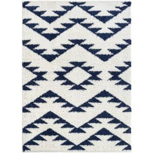 Madison Shag Edona Moroccan Tribal Geometric White 5 ft. 3 in. x 7 ft. 3 in. Area Rug
