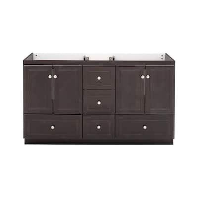 Ultraline 60 in. W x 21 in. D x 34.5 in. H Vanity for Double Basins Cabinet Only in Dark Alder