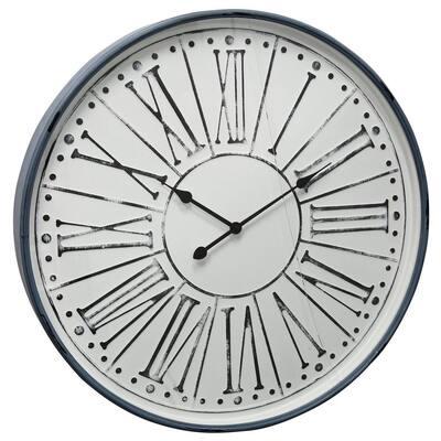 Farmhouse White Wash, Black, Blue, Clear Roman Numeral Analog Clock