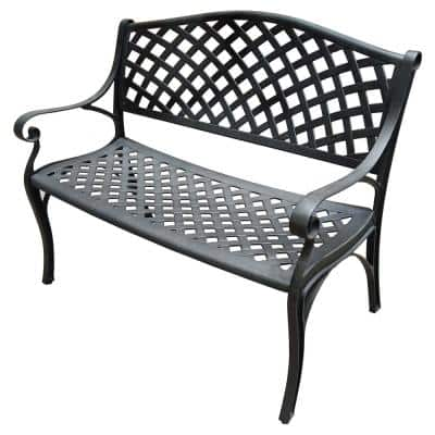 Outdoor Benches Patio Chairs, White Cast Aluminum Garden Benches