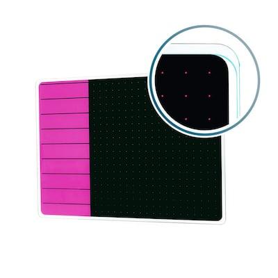 Viztex® Glacier 17 in. x 23 in. Violet and Black Plan and Grid Glass Dry Erase Board