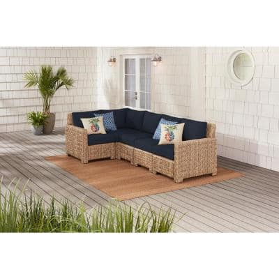 Laguna Point 5-Piece Natural Tan Wicker Outdoor Patio Sectional Sofa with CushionGuard Midnight Navy Blue Cushions