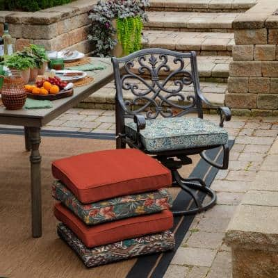Pistachio Botanical Square Outdoor Welted Dining Seat Cushion (2-Pack)