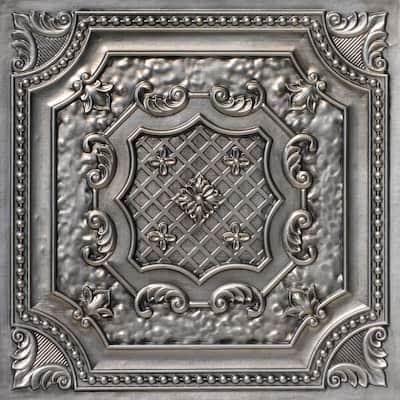 Elizabethan Shield 2 ft. x 2 ft. Glue Up PVC Ceiling Tile in Aged Silver