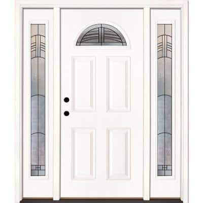 67.5 in. x 81.625 in. Rochester Patina Fan Lite Unfinished Smooth Right-Hand Fiberglass Prehung Front Door w/Sidelites