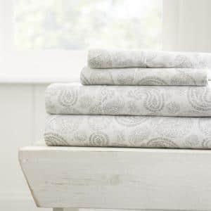 Home Collection 4-Piece Gray Floral Microfiber Full Sheet Set
