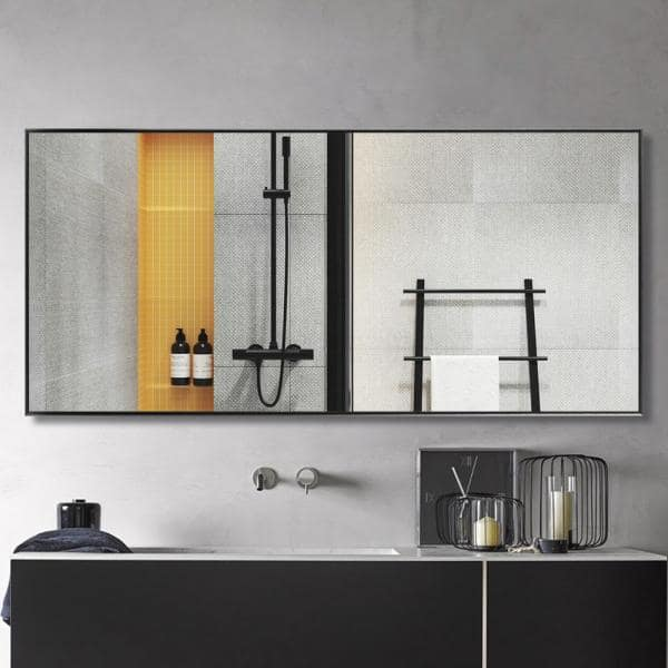 Neu Type 71 In X 31 In Oversized Modern Rectangle Metal Framed Bathroom Vanity Mirror Jj00946aaf The Home Depot