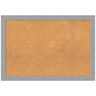 Brushed Nickel 39.38 in. x 27.38 in. Framed Corkboard Memo Board