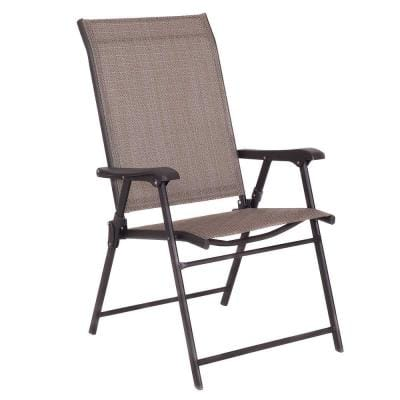 Metal Set of 2 Patio Folding Sling Chairs Camping Deck Garden Pool Beach Without Cushion