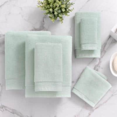 6-Piece Blossom Cotton Towel Set in Eggshell