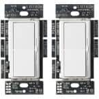 Single-Pole or 3-Way Diva LED+ Dimmer Switch for Dimmable LED, Halogen and Incandescent Bulbs, White (2-Pack)