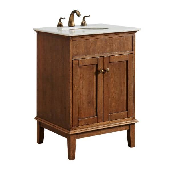 Victor 24 In Single Bathroom Vanity With 1 Shelf 2 Doors Marble Top Porcelain Sink In Chestnut Wood Finish Hdvnt 60248cw The Home Depot
