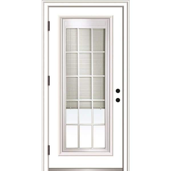 Mmi Door 36 In X 80 In Internal Blinds Grilles Right Hand Outswing Full Lite Clear Primed Fiberglass Smooth Prehung Front Door Z0364947r The Home Depot