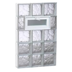 21.25 in. x 38.75 in. x 3.125 in. Frameless Wave Pattern Vented Glass Block Window