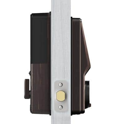 Secure Venetian Bronze Single-Cylinder Smart Alarmed Lock Deadbolt with Keypad, Bluetooth and Discrete PIN Code Input