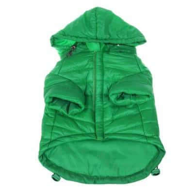 Small Fresh Green Lightweight Adjustable Sporty Avalanche Dog Coat with Removable Pop Out Collared Hood