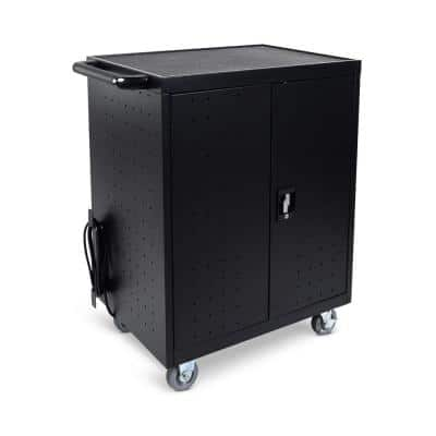 All Steel Mobile Charging Locker with Timer for 32 Laptops/Chromebooks in Black
