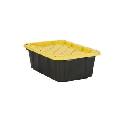 14 Gal. Tough Storage Tote in Black with Yellow Lid