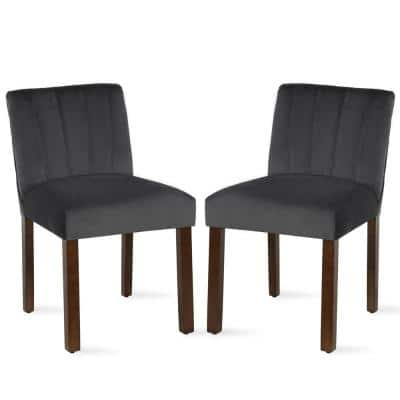Dallin Channel Back Parsons Charcoal Gray Dining Chair (Set of 2)