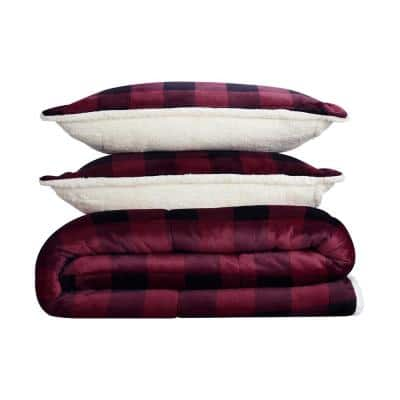 Cozy Plush 2-Piece Red Buffalo Plaid Microfiber Twin Comforter Set